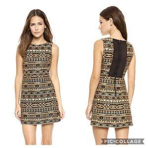 Alice + Olivia Wilcox Gold Jacquard Dress Sz 6